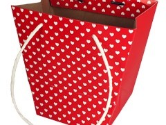 Tas Mini hearts karton 19/12x11xH18cm rood