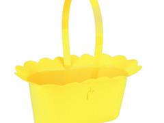Mand Scallop plastic + hengsel 2xES9xH10cm geel