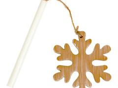 Bijsteker Sneeuwvlok hout hangend +7cm stok whitew