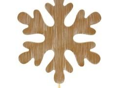 Bijsteker Sneeuwvlok hout 9cm+50cm stok whitew.