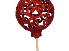 Bijsteker Balroque 6cm+50cm stok glitter rood