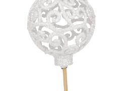 Bijsteker Balroque 6cm+50cm stok glitter wit