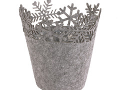 Pot Sneeuwvlok vilt ES9xH12cm grijs