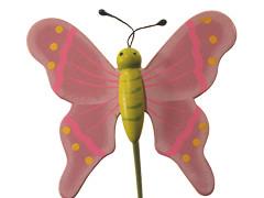 Bijsteker Vlinder flying hout+20cm stok lila