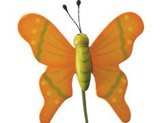 Bijsteker Vlinder flying hout+20cm stok oranje
