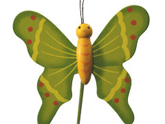 Bijsteker Vlinder flying hout+20cm stok groen