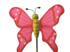 Bijsteker Vlinder flying hout+50cm stok roze