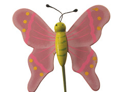 Bijsteker Vlinder flying hout+50cm stok lila
