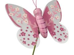 Bijsteker Lovely butterfly 7cm+20cm stok lila