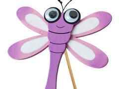 Bijsteker Libelle 7cm+50cm stok lila