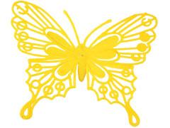 Bijsteker Vlinder baroque 8cm+50cm stok geel