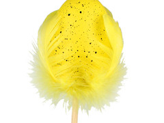 Bijsteker Kievit ei met veren 6cm+50cm stok geel