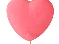 Bijsteker Hart flock 15x8cm+60cm stok roze