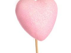 Bijsteker Hart glitter 6cm+50cm stok roze