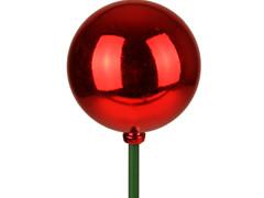 Bijsteker Kerstbal glans 6cm+50cm stok rood