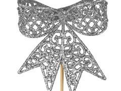 Bijsteker Strik 8,5cm+50cm stok glitter zilver