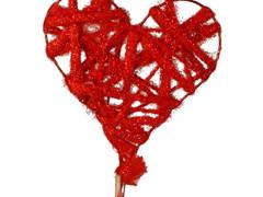 Bijsteker hart wol 11,5x11,5cm + 50cm stok rood