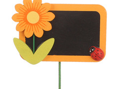 Bijsteker Krijtbord 7x4,5cm+12cm stok oranje