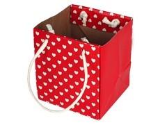 Tas Mini hearts karton 9,5x9xH11cm rood