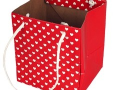 Tas Mini hearts karton 12,5x11,5xH14,5 rood