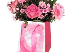 Tas Stone heart karton 12/12x15/15xH18cm roze