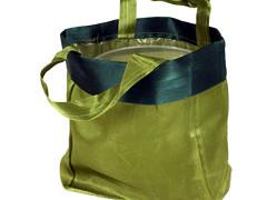 Luxe draagtasje 14/08xH14cm satin groen