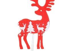 Bijsteker Rendier hout 6x11cm+50cm stok rood