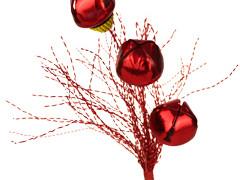 Bijsteker Bells 3x3cm + tinsel+50cm stok rood