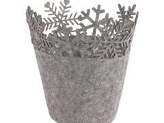 Pot Sneeuwvlok vilt ES12xH16cm grijs