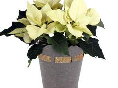 Pot Luxury vilt ES12xH11,5cm grijs/goud