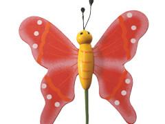 Bijsteker Vlinder flying hout+20cm stok rood