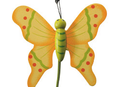 Bijsteker Vlinder flying hout+20cm stok geel