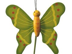 Bijsteker Vlinder flying hout+50cm stok groen