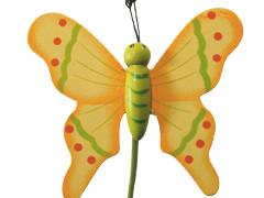 Bijsteker Vlinder flying hout+50cm stok geel
