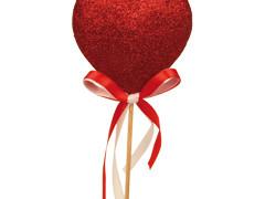 Bijsteker Hart glitter strik 7cm+50cm stok rood