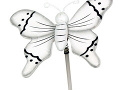 Bijsteker Vlinder flying hout+50cm stok wit
