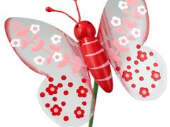 Bijsteker Lovely butterfly 7cm+50cm stok rood