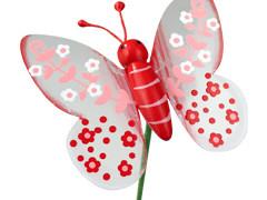 Bijsteker Lovely butterfly 7cm+20cm stok rood