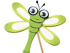 Bijsteker Libelle 7cm+50cm stok groen