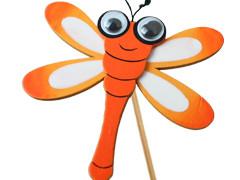 Bijsteker Libelle 7cm+50cm stok oranje