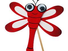 Bijsteker Libelle 7cm+50cm stok rood