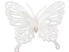 Bijsteker Vlinder baroque 8cm+50cm stok wit