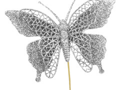 Bijsteker Vlinder jumbo 18cm+50cm stok glit/zilv