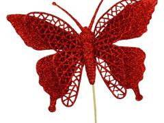 Bijsteker Vlinder jumbo 18cm+50cm stok glit/rood