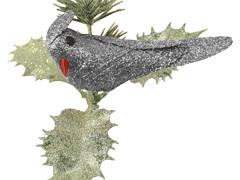 Bijsteker Vogel icy 9cm+12cm stok glitter zilver