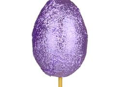 Bijsteker chocolade ei 6cm+50cm stok paars