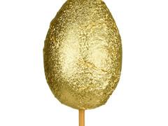 Bijsteker chocolade ei 6cm+50cm stok goud