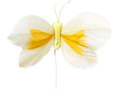 Bijsteker Butterfly 8cm+12cm draad 48 stuks geel