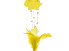 Bijsteker konijn vilt deco 7cm+50cm stok geel