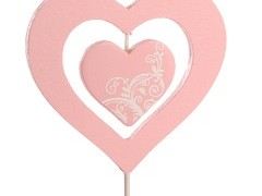 Bijsteker Hart dubbel 6,5x7cm+50cm stok roze/wit